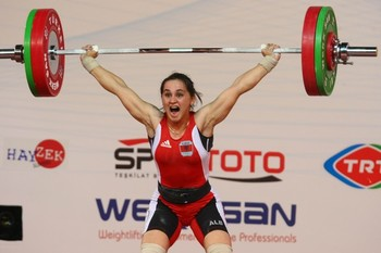 Romela Begaj of Albania competes in the